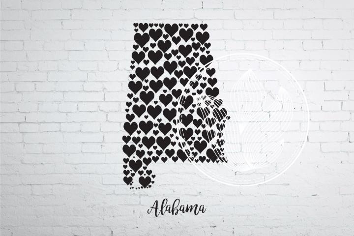Alabama heart map jpg, png, eps, svg, dxf, pdf