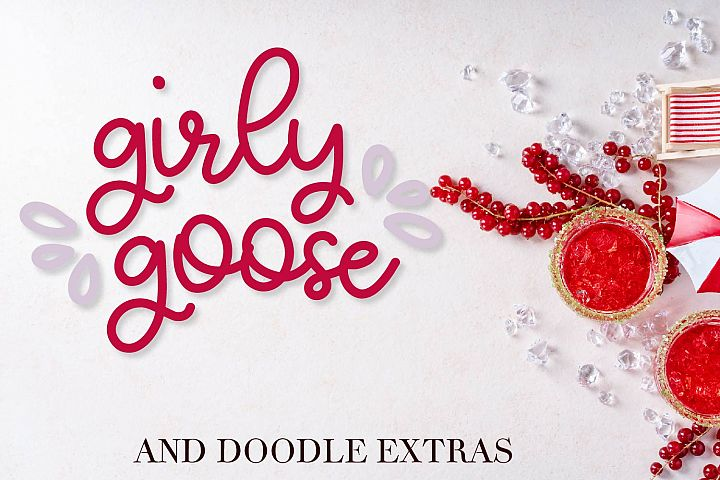 Girly Goose - A Fun Script Font with Doodle Extras