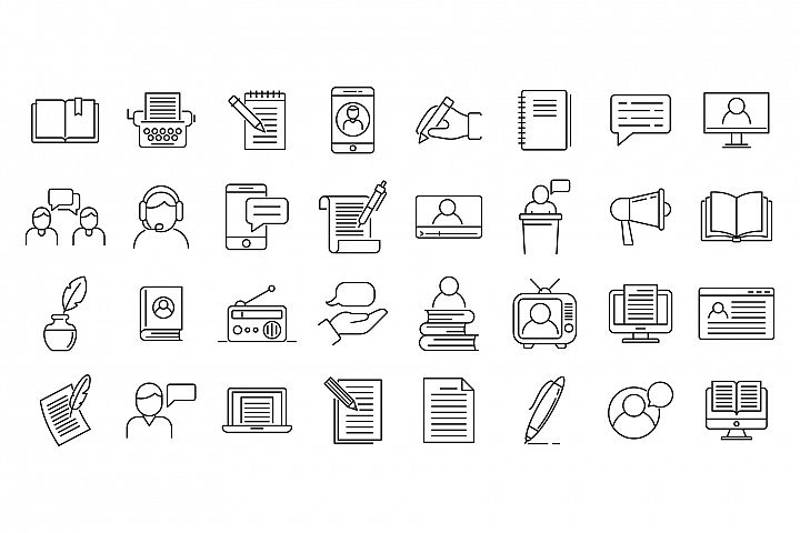 Storyteller icons set, outline style