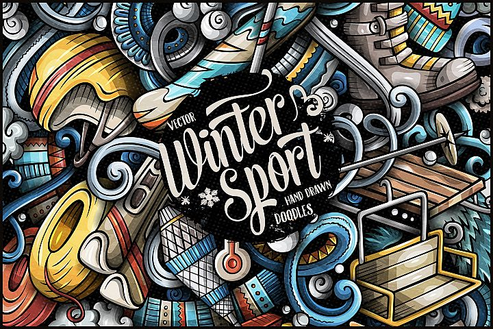 Winter Sports Vector Doodle Illustration