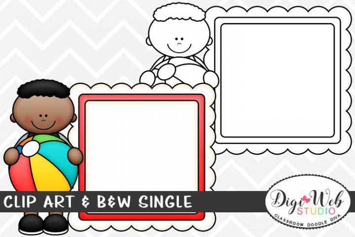 Clip Art & B&W Single - Summer Boy w/ Ball & Message Board