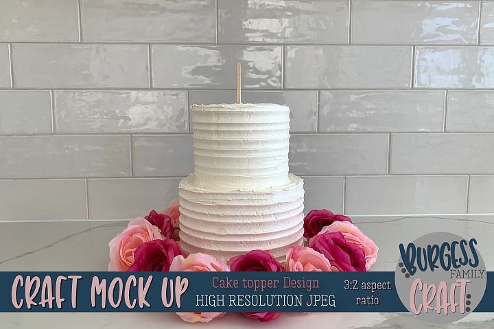 Cake topper pink flowers Craft mock up | High Res JPEG