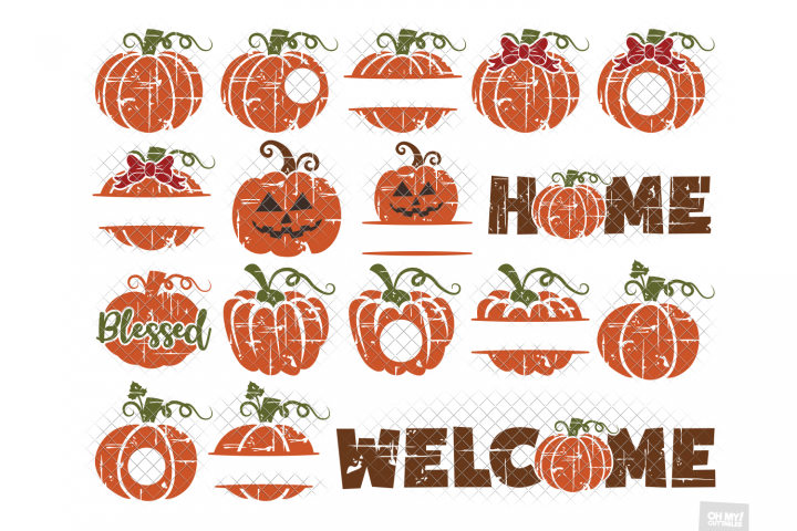 Distressed Pumpkin SVG in SVG, DXF, PNG, EPS, JPEG