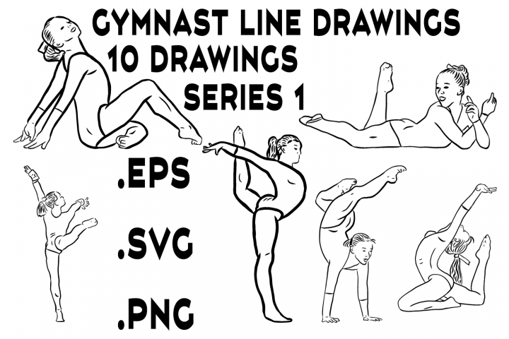 Gymnast Line Drawings Series 1 - Vector Line Graphics
