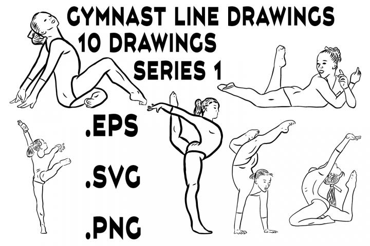 Gymnast Line Drawings Series 1 - Vector Line Graphics