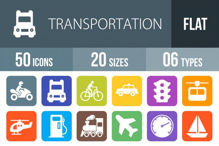 50 Transportation Filled Round Corner Icons