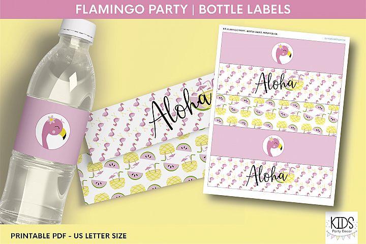 Flamingo party Water Bottle Labels, flamingo birthday