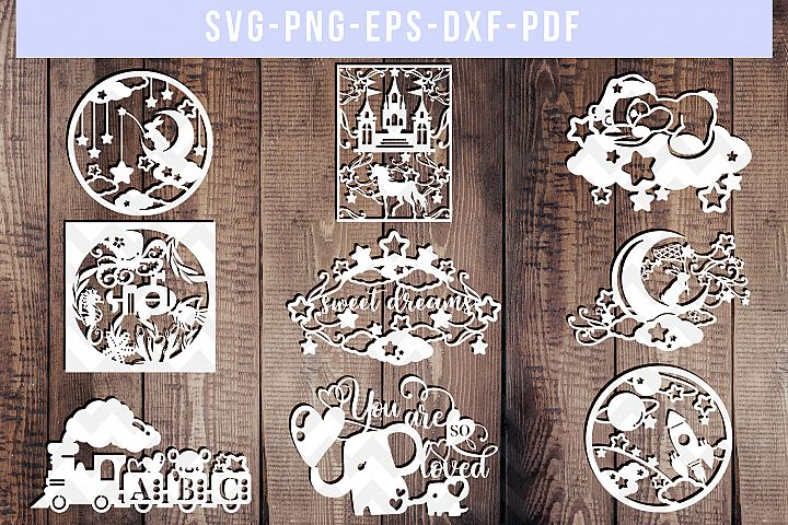 Bundle of 9 Nursery Paper Cut Templates, Newborn DXF, baby
