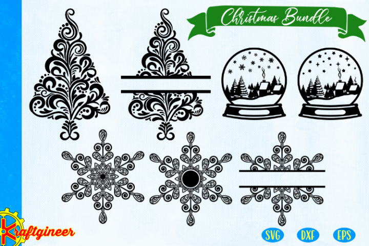 Christmas bundle SVG - swirly tree CUT FILE, DXF, EPS. Pl