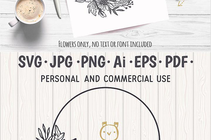 Flower Wreath SVG, Flower monogram svg example 8
