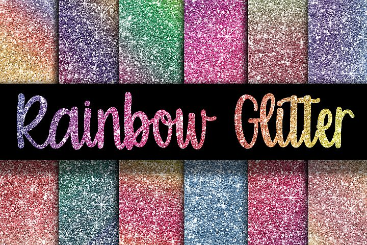 Rainbow Glitter Digital Paper Textures - Free Design of The Week Font