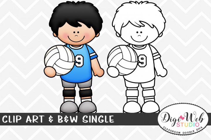 Clip Art & B&W Single - Volleyball Player - Sports Boy