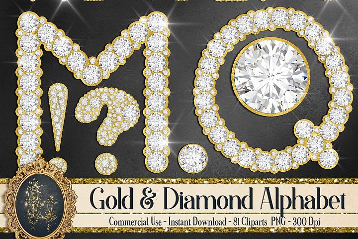 81 Gold and Diamond Alphabet Number Symbol Clip Art Not Font