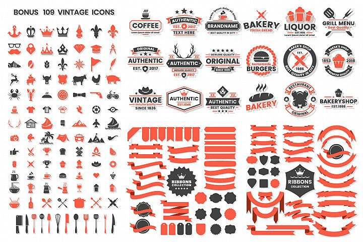 Vintage Badge & Objects Vector Set example