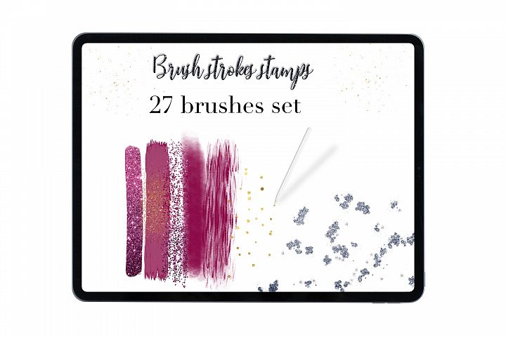 Procreate brush strokes set of 27 stamps, Hand drawn brushes