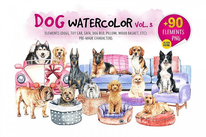 Dog watercolor.Animal Clip art. Dog watercolor painted Vol.3