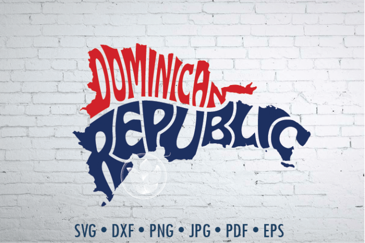 Dominican Republic Word Art, Svg Dxf Eps Png Jpg, cut file