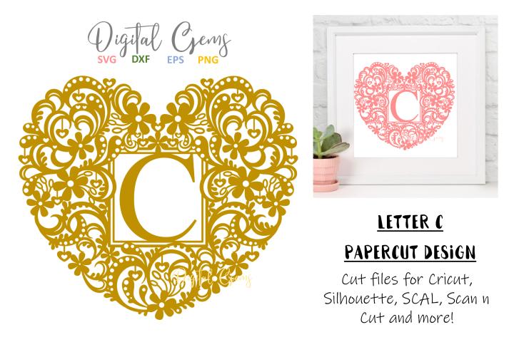 Letter C paper cut design. SVG / DXF / EPS / PNG files