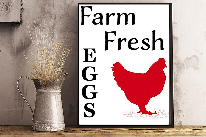 Farm fresh eggs with chicken