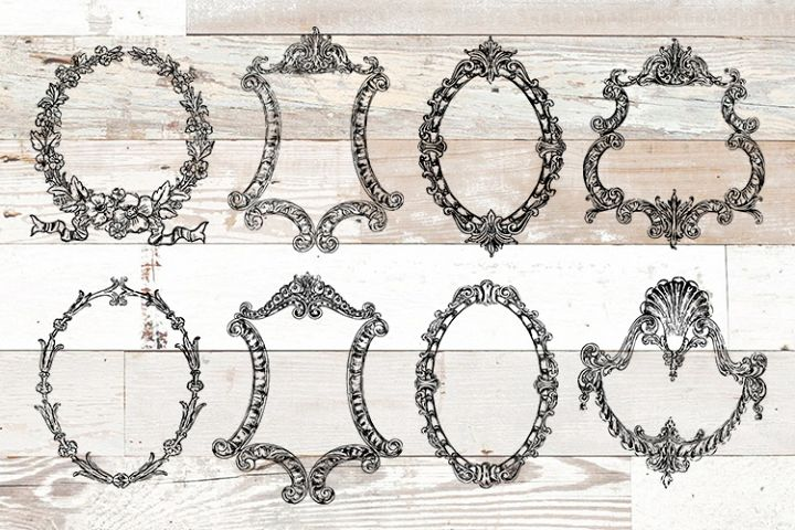Vintage Ornate Frames Clipart Bundle PNG, EPS, SVG Vector
