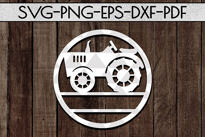Customizable Farm Tractor Circle Papercut Template, DXF, PDF