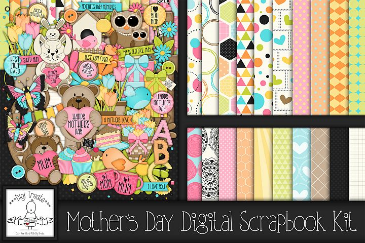 Mothers Day Digital Scrapbook Kit With Mum & Mom variations