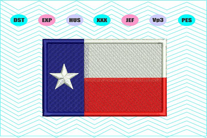 Texas Flag Machine Embroidery Design - INSTANT DOWNLOAD