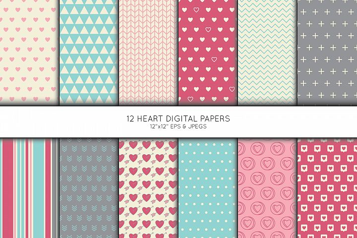 Heart Digital Paper, Heart Scrapbook paper