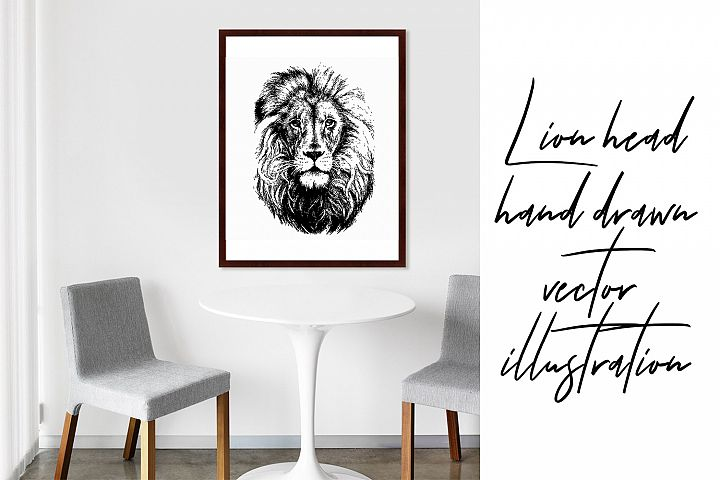 Lion head hand drawn silhouette, vector illustration