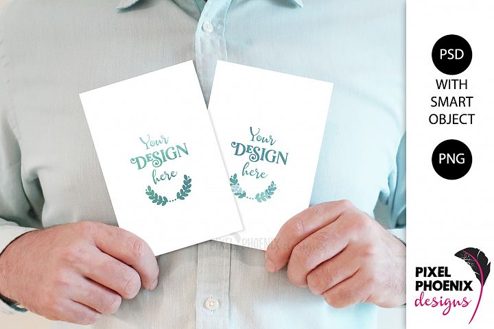Mockup with hands holding 4x6 cards