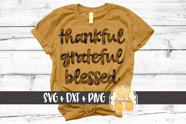 Thankful Grateful Blessed - Buffalo Plaid Thanksgiving SVG