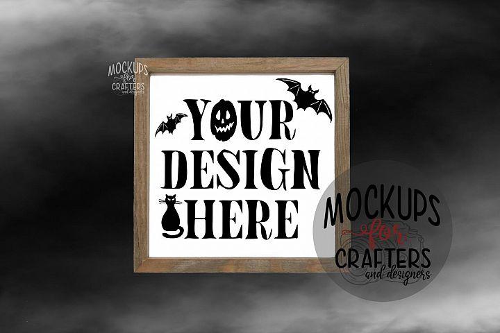 WOOD SIGN MOCK-UP Halloween - FOG effect