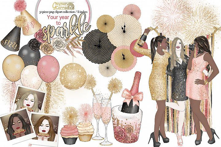 Your year to sparkle - New year Clipart collection