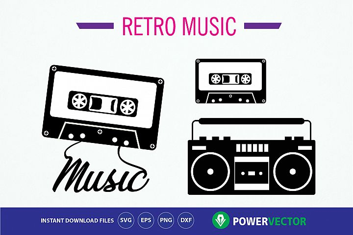 Mix Tape Music, 1980s Boombox SVG File. Retro Music Clip art
