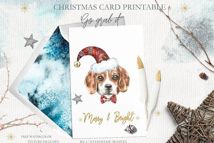 Christmas Watercolor Card Freebie Printable nursery art