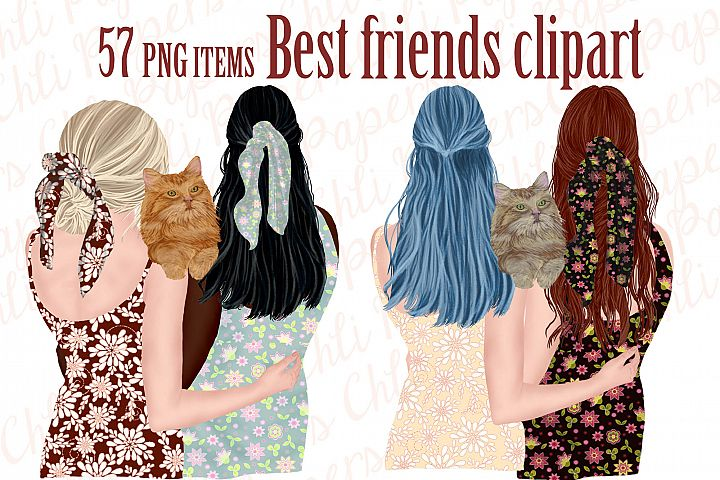Best Friends Clipart,Girls and Cats, Cat clipart