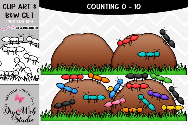 Clip Art / Illustrations - 0-10 Counting Ants