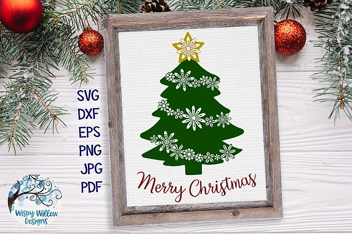 Merry Christmas SVG | Floral Ornament Christmas Tree SVG