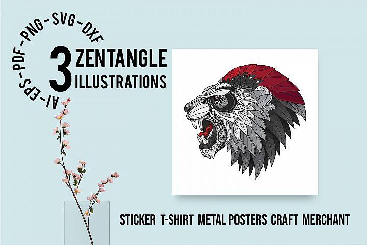 Zentangle Stylized Lion King