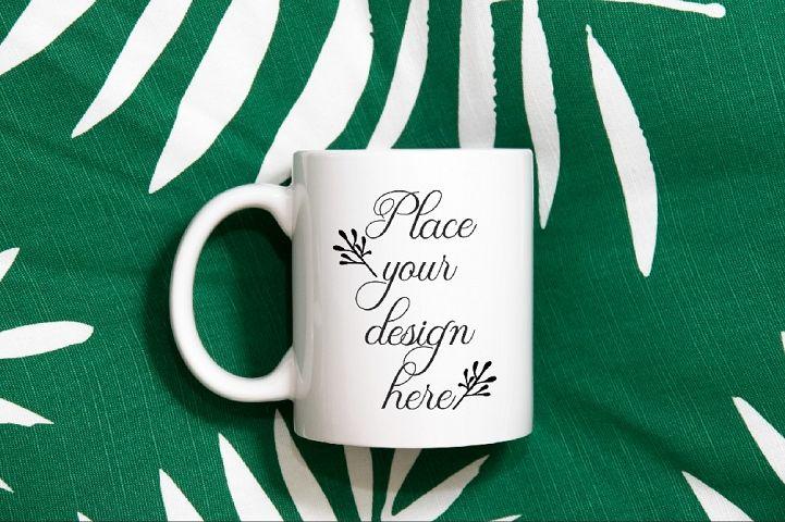 Modern neutral white coffee mug mockup cup soft stock photo