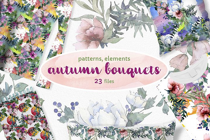 Autumn Flowers Bouquets Watercolor png