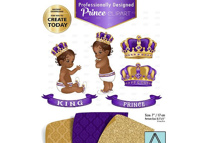 Gold and Purple Baby Prince/King Royal Digital Clipart