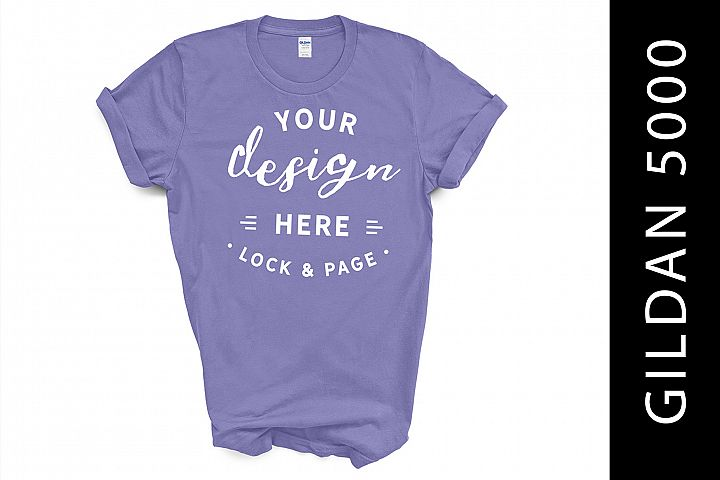 Violet Gildan 5000 TShirt Mockup On White Background