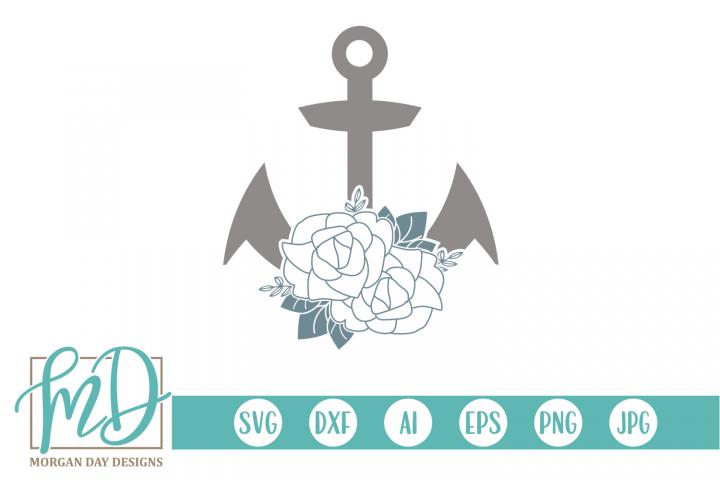 Floral - Anchor - Nautical - Floral Anchor SVG