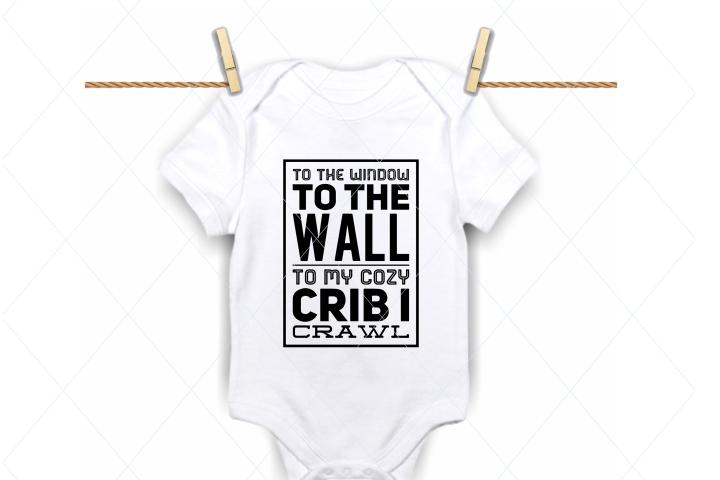 Funny baby onesie, newborn baby shower, baby crib cut file