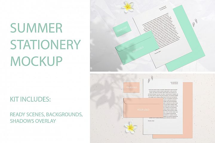 Summer Stationery Branding Mockup with Shadows