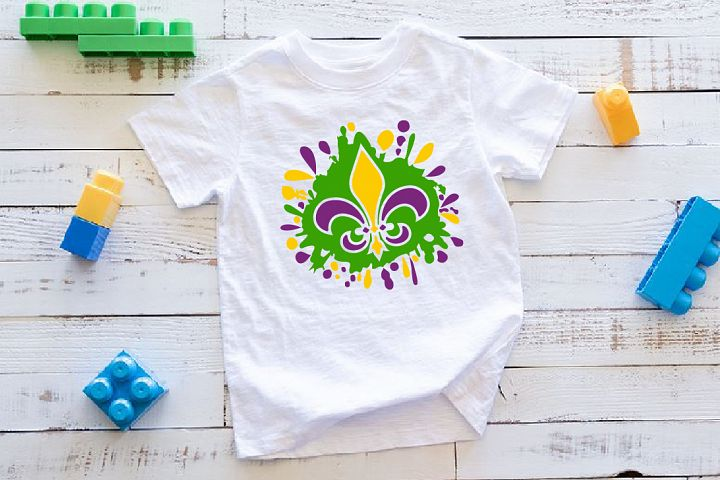 Fleur de Lis Mask Mardi ink Splash Gras SVG Tuesday 1280s