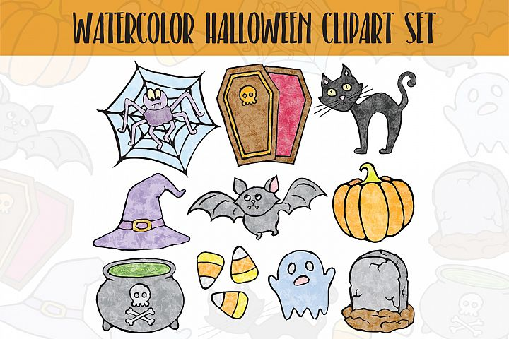 Funny Watercolor Halloween Clipart Set