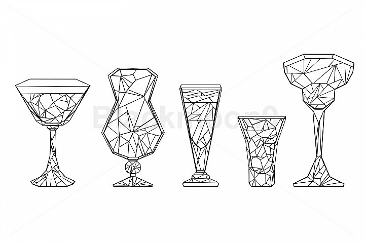 Set of Polygonal Wineglass