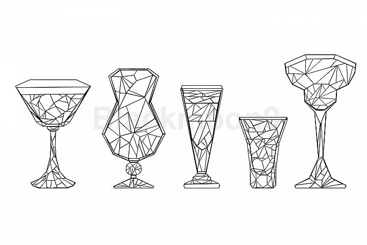 Set of Polygonal Wineglass